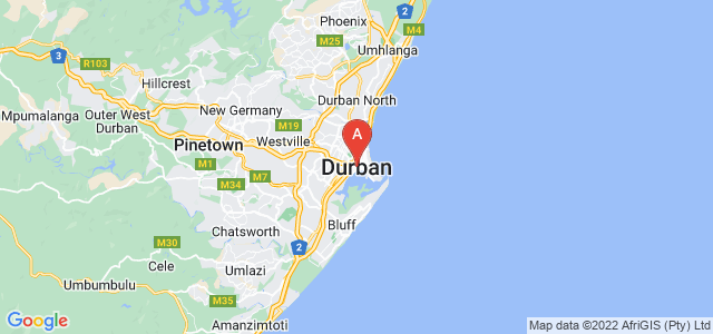 map of Durban, South Africa